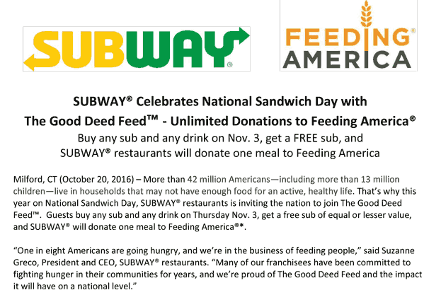 Subway.com Promo Coupon Second sandwich free the 3rd at Subway