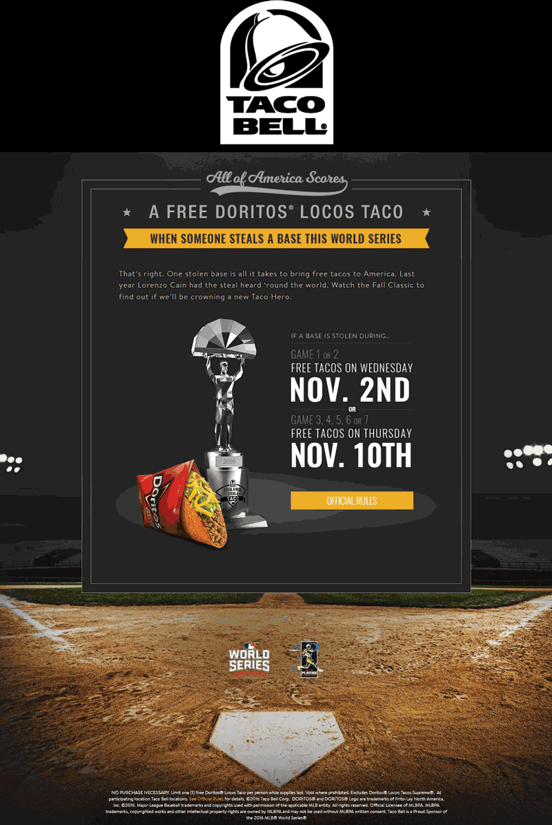 TacoBell.com Promo Coupon Stolen world series base = free taco at Taco Bell