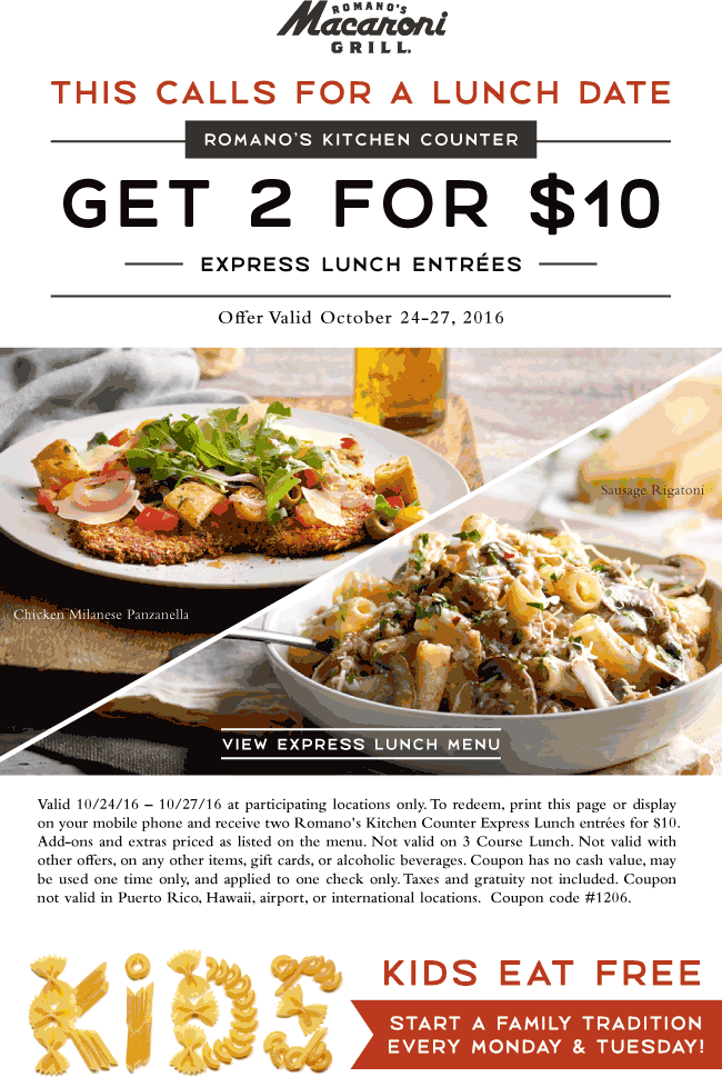 MacaroniGrill.com Promo Coupon Two lunches for $10 at Macaroni Grill