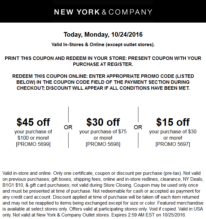 NewYork&Company.com Promo Coupon $15 off $30 & more today at New York & Company, or online via promo code 5697