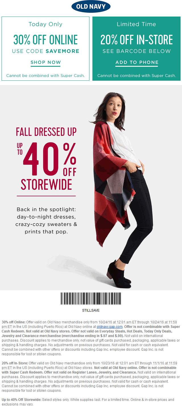OldNavy.com Promo Coupon 20% off & more at Old Navy