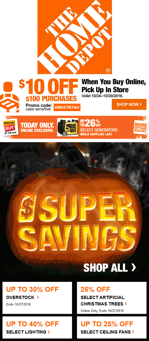 HomeDepot.com Promo Coupon $10 off $100 online with in-store pickup at Home Depot via promo code 0WHZTR7AH