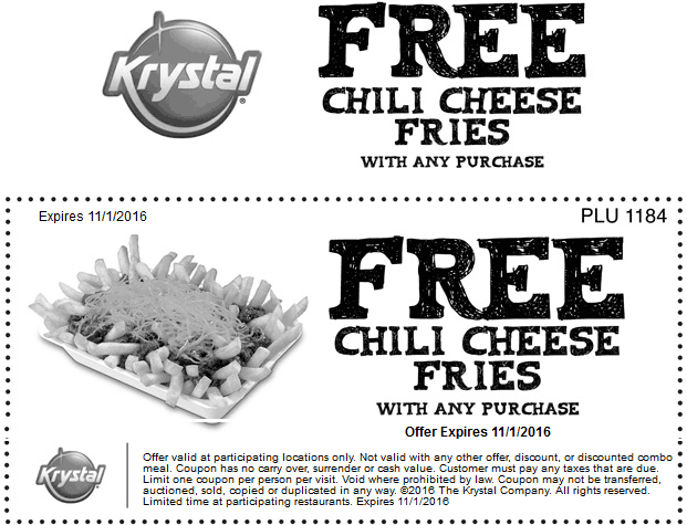 Krystal.com Promo Coupon Free chili cheese fries with any order at Krystal