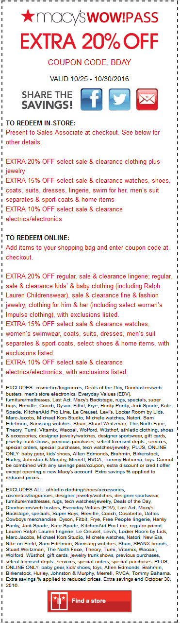 Macys.com Promo Coupon 20% off at Macys, or online via promo code BDAY
