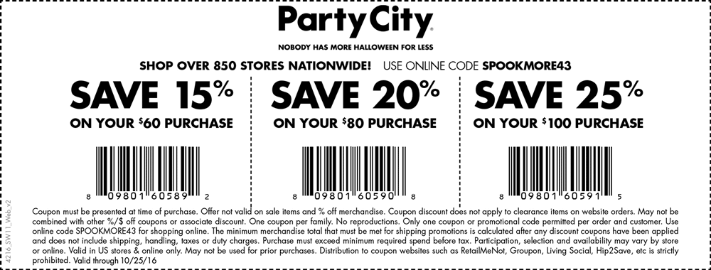 PartyCity.com Promo Coupon 15-25% off $60+ today at Party City, or online via promo code SPOOKMORE43