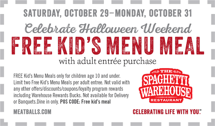 SpaghettiWarehouse.com Promo Coupon 2 free kids meals with your entree at Spaghetti Warehouse