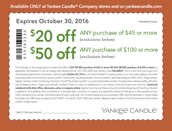 YankeeCandle.com Promo Coupon $20 off $45 & more at Yankee Candle, or online via promo code FALLSBEST