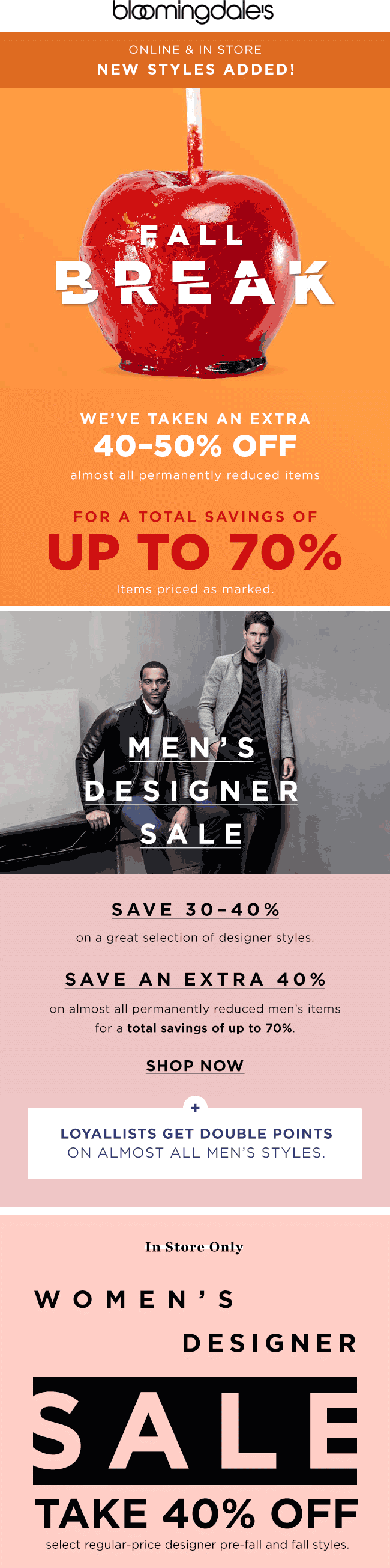 Bloomingdales.com Promo Coupon Extra 40-50% off clearance at Bloomingdales, ditto online