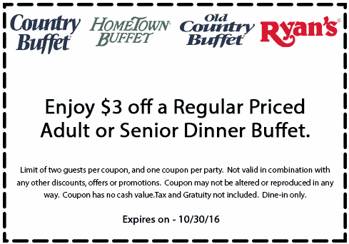 HometownBuffet.com Promo Coupon $3 off a bottomless buffet at Country Buffet, Ryans, Hometown Buffet & Old Country Buffet