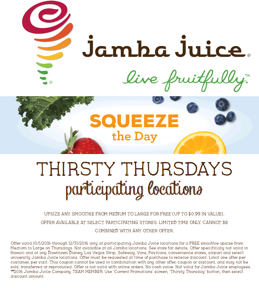 JambaJuice.com Promo Coupon Free upgrade med to large Thursdays at Jamba Juice