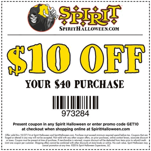 SpiritHalloween.com Promo Coupon $10 off $40 at Spirit Halloween, or online via promo code GET10