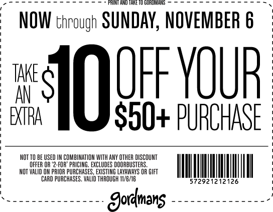 Gordmans.com Promo Coupon $10 off $50 at Gordmans