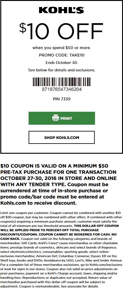 Kohls.com Promo Coupon $10 off $50 at Kohls, or online via promo code TAKE10