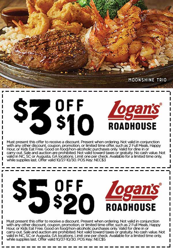 LogansRoadhouse.com Promo Coupon $3 off $10 & more at Logans Roadhouse restaurants