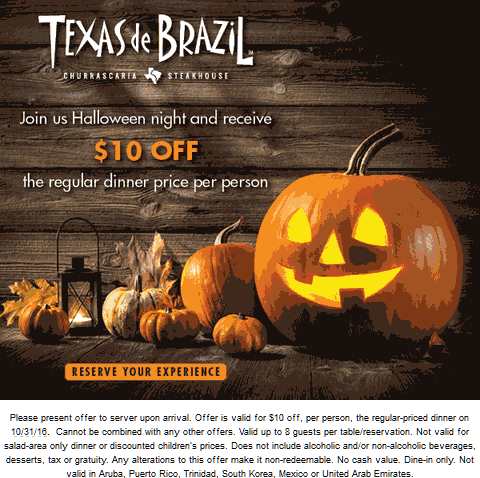 TexasdeBrazil.com Promo Coupon $10 off each dinner Monday at Texas de Brazil