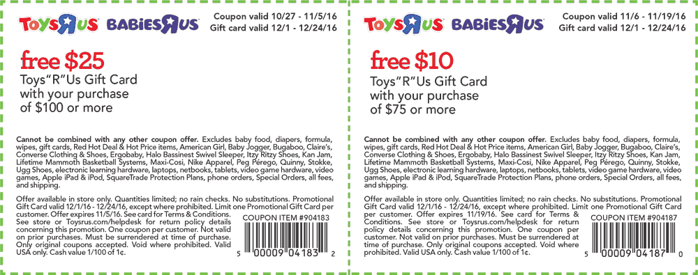 ToysRUs.com Promo Coupon $10-$25 gift card with $75+ spent at Toys R Us & Babies R Us