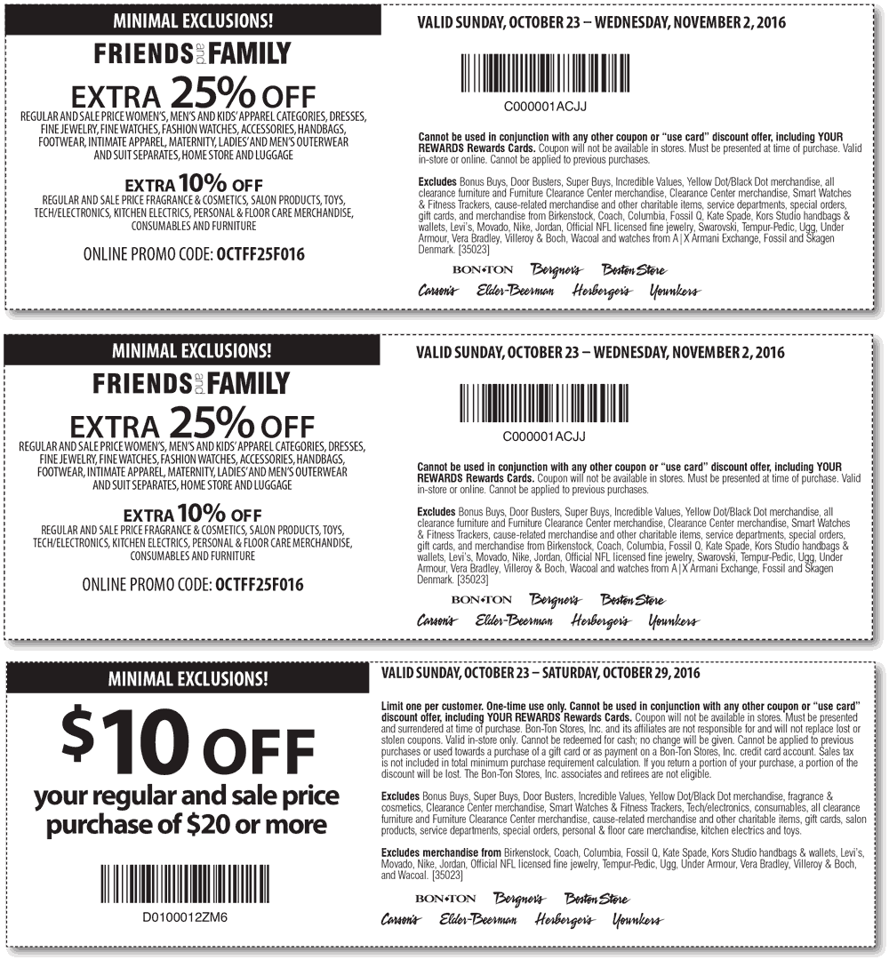 Carsons.com Promo Coupon Extra 25% off & more at Carsons, Bon Ton & sister stores, or online via promo code OCTFF25F016