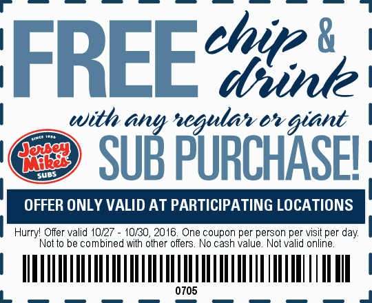 Jersey Mikes Coupon October 2018 Chips & drink free with your sub at Jersey Mikes