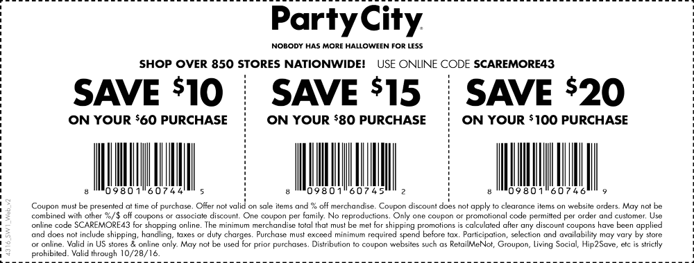 Party City Coupon March 2019 Get your costume at $10 off $60 & more today at Party City, or online via promo code SCAREMORE43