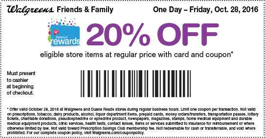 Walgreens.com Promo Coupon 20% off store items today at Walgreens
