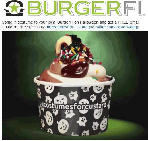 BurgerFi.com Promo Coupon Free custard in costume Monday at BurgerFi restaurants