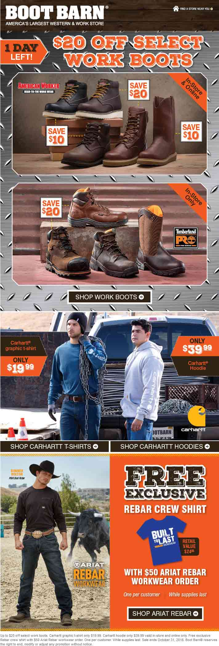 BootBarn.com Promo Coupon $20 off work boots at Boot Barn, ditto online
