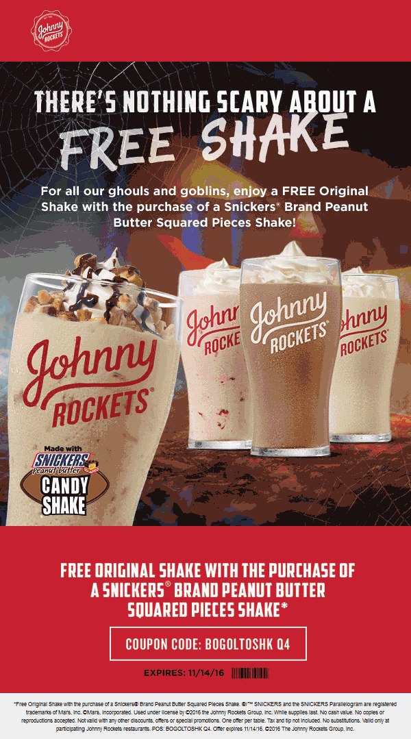 JohnnyRockets.com Promo Coupon Second shake free at Johnny Rockets restaurants