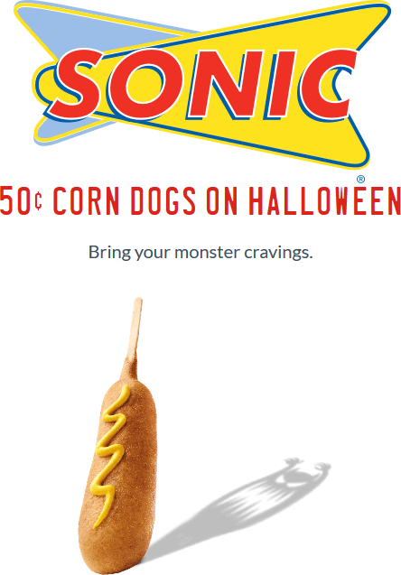 Sonic Drive-In Coupon October 2018 .50 cent corn dogs Monday at Sonic Drive-In