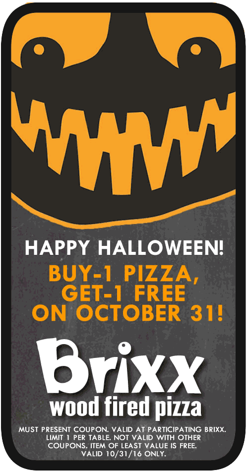 Brixx.com Promo Coupon Second pizza free today at Brixx wood fired
