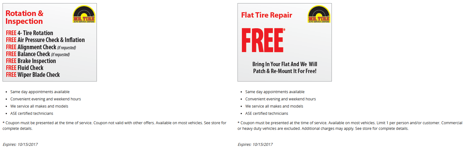 Mr. Tire Coupon January 2019 Free flat tire repair & free rotation at Mr. Tire