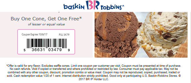 Baskin Robbins Coupon August 2018 Second ice cream cone free at Baskin Robbins
