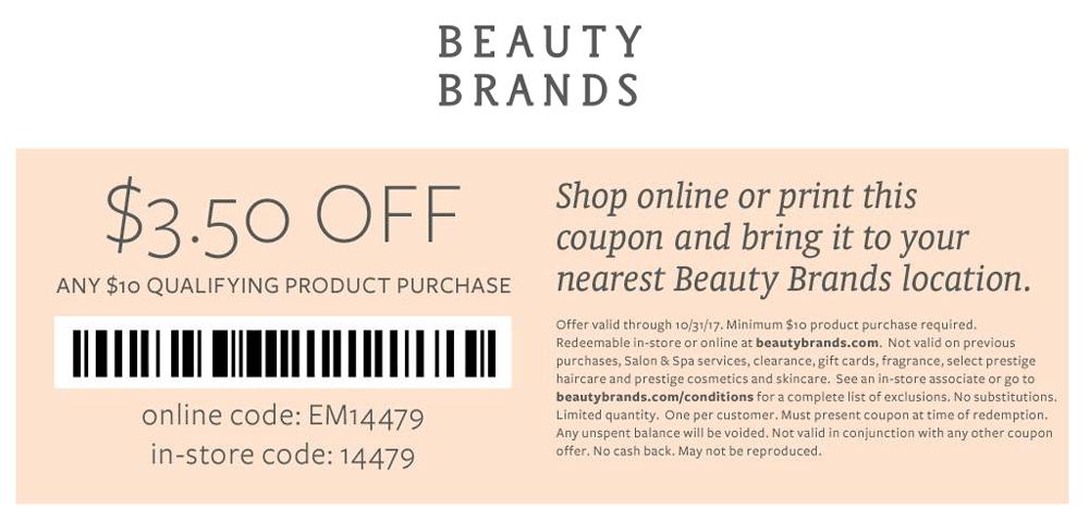 Beauty Brands Coupon December 2018 $3.50 off $10 at Beauty Brands, or online via promo code EM14479
