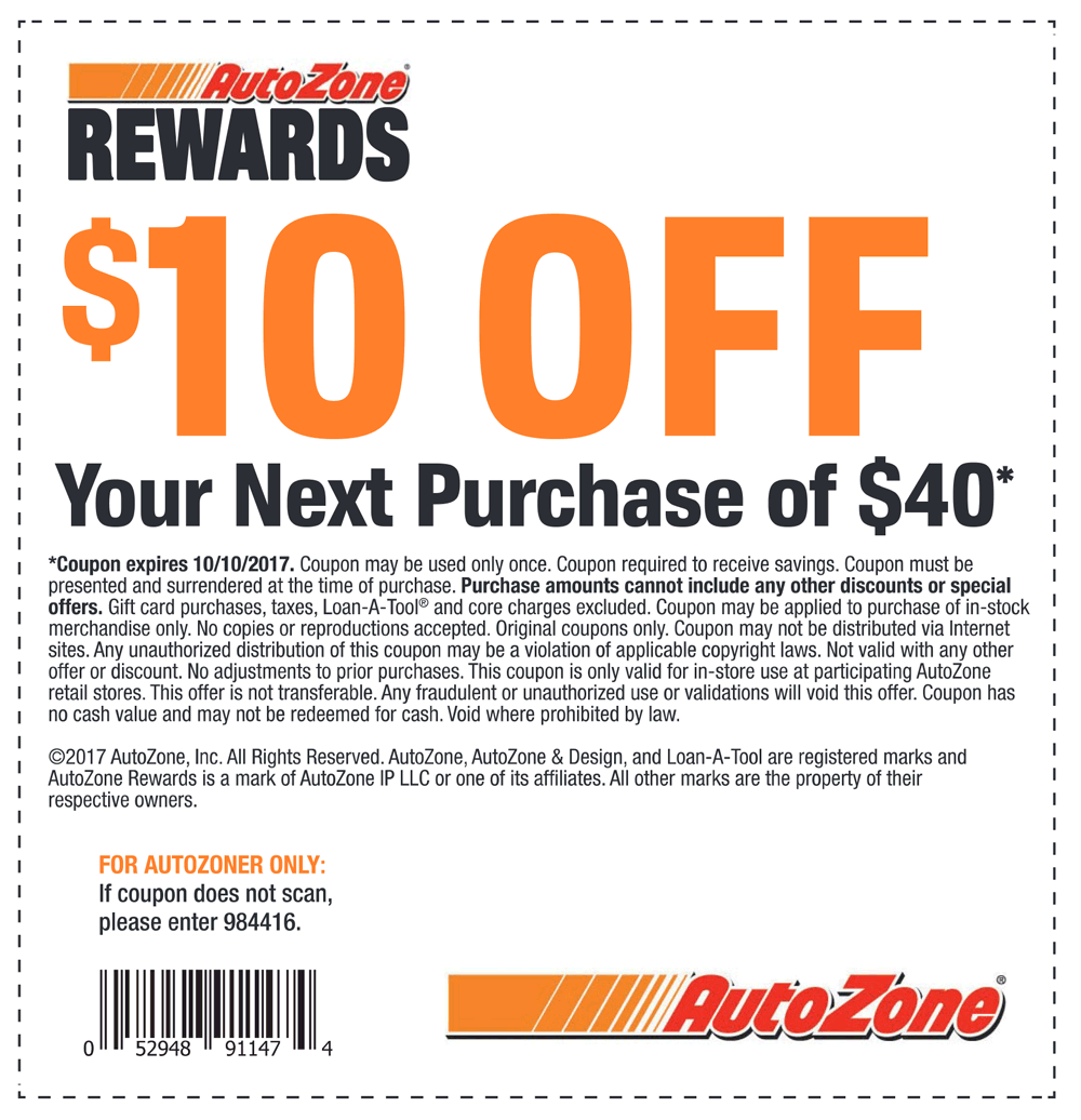 Autozone Coupons 40 Off >> Autozone coupon codes