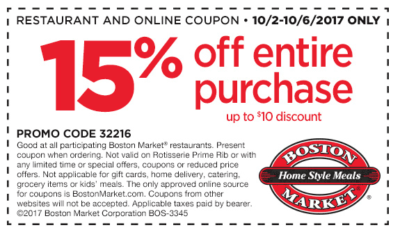 Boston Market Coupon December 2018 15% off at Boston Market restaurants
