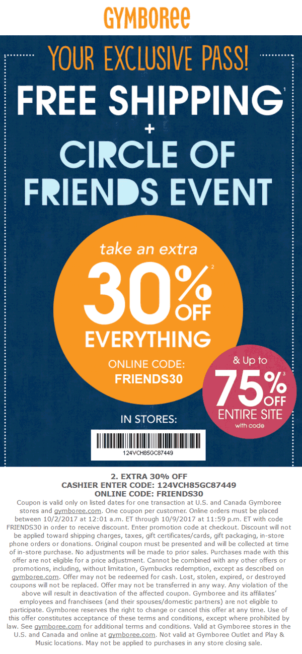 Gymboree Coupon October 2018 30% off everything at Gymboree, or online via promo code FRIENDS30