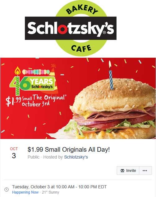 Schlotzskys.com Promo Coupon $2 sandwich today at Schlotzskys bakery cafe