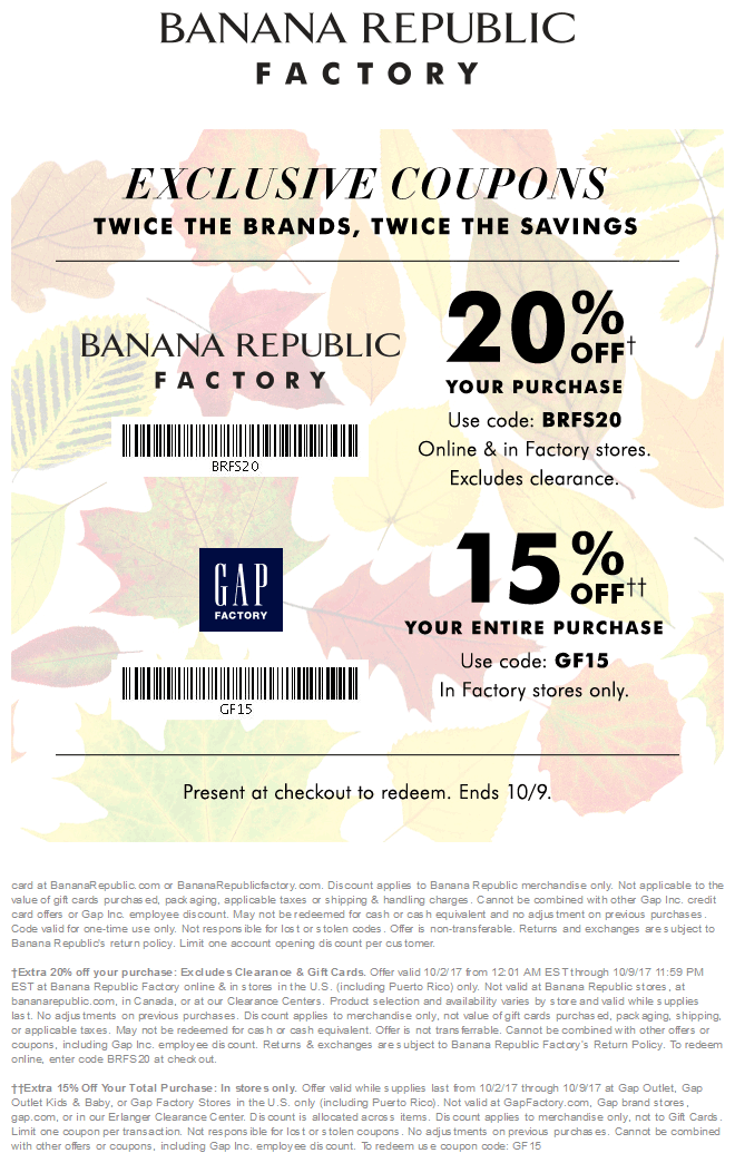 Banana Republic Factory Coupon November 2017 Extra 15-20% off at Gap Factory & Banana Republic Factory, or online via promo code BRFS20