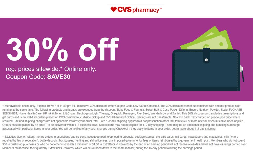CVSPharmacy.com Promo Coupon 30% off online at CVS Pharmacy via promo code SAVE30