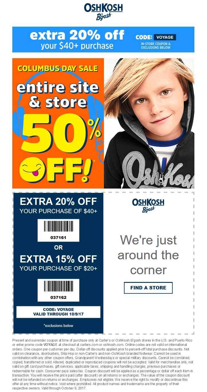 OshKosh Bgosh Coupon December 2018 50% off everything & more at OshKosh Bgosh, ditto online