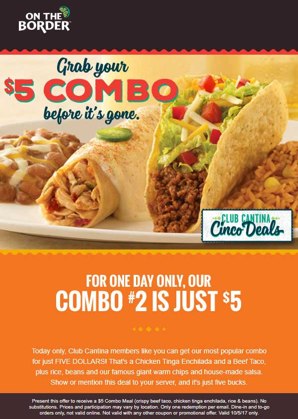 OnTheBorder.com Promo Coupon $5 combo meal today at On The Border