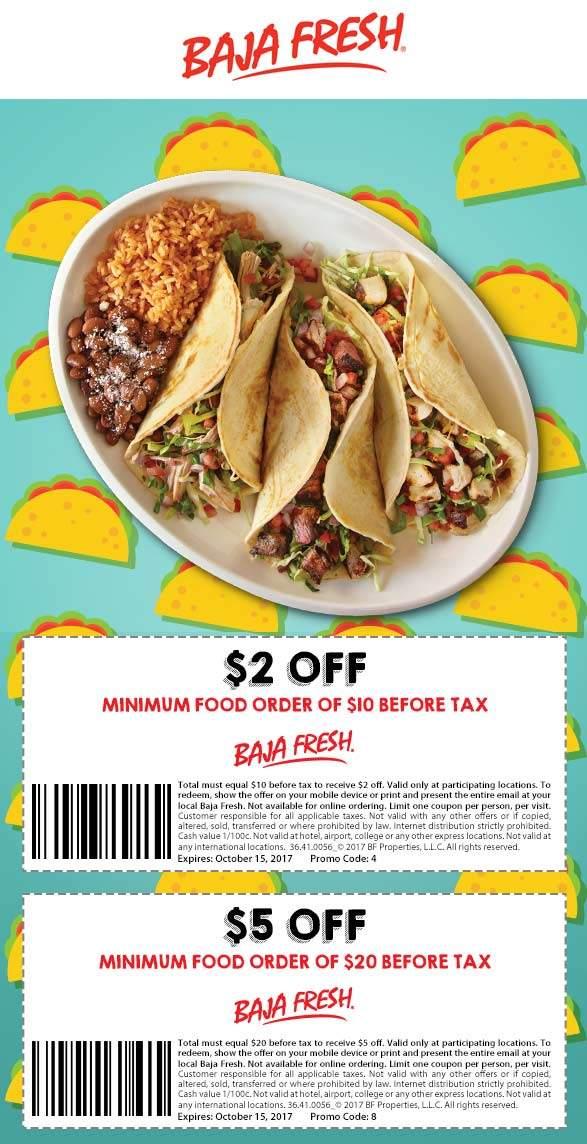 Baja Fresh Coupon March 2019 $2 off $10 & more at Baja Fresh restaurants