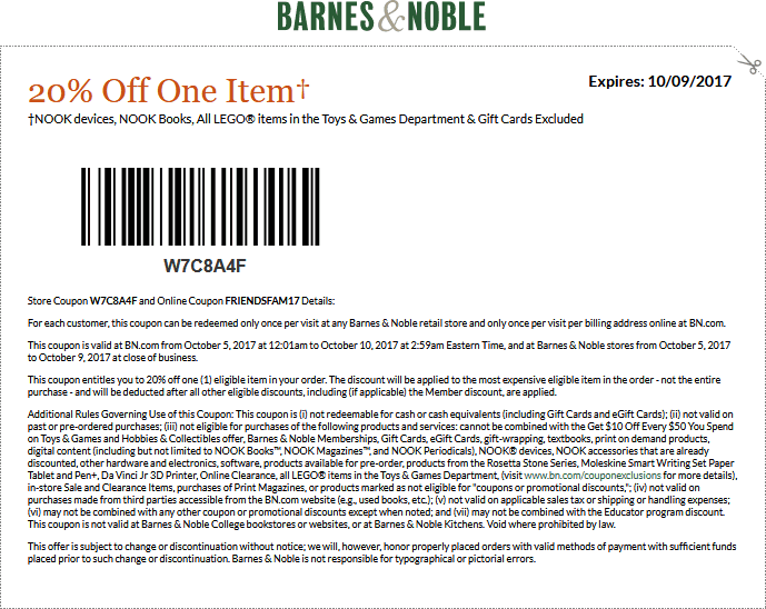 Barnes & Noble Coupon January 2018 20% off a single item at Barnes & Noble, or online via promo code FRIENDSFAM17