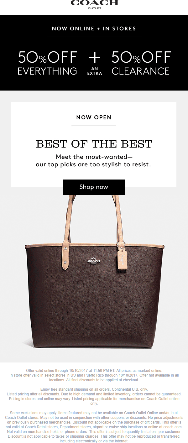 Coach Outlet Coupon August 2018 50% off everything at Coach Outlet, ditto online