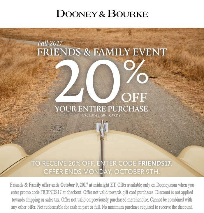 Dooney & Bourke Coupon November 2017 20% off everything online at Dooney & Bourke via promo code FRIENDS17