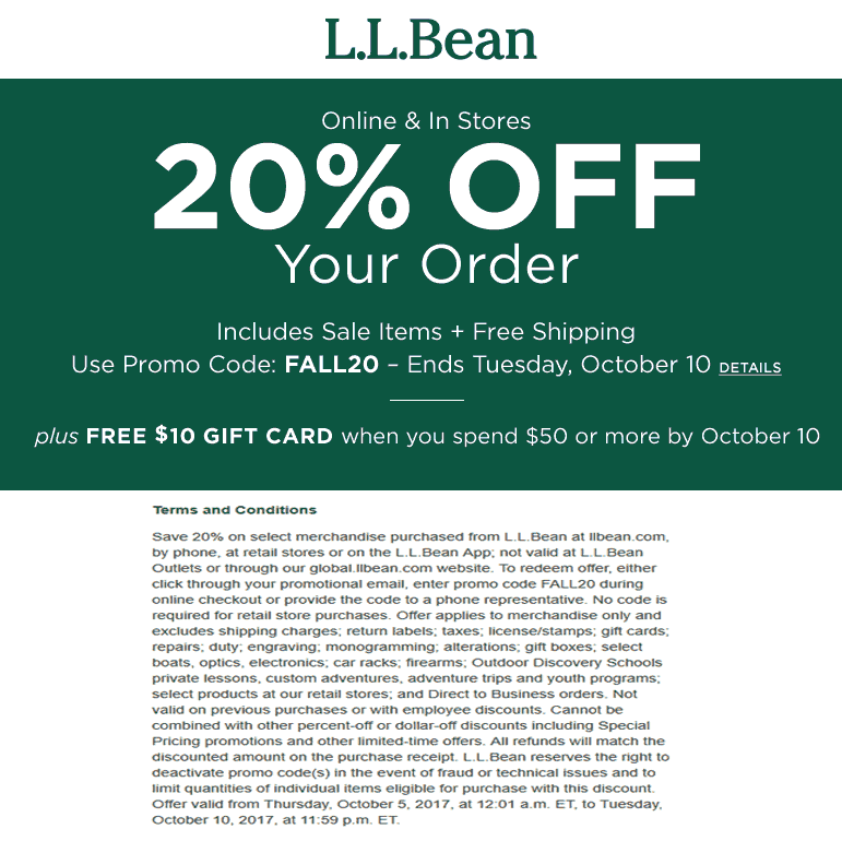 photograph relating to Llbean Printable Coupon named L.L. Bean Discount codes Promo Codes