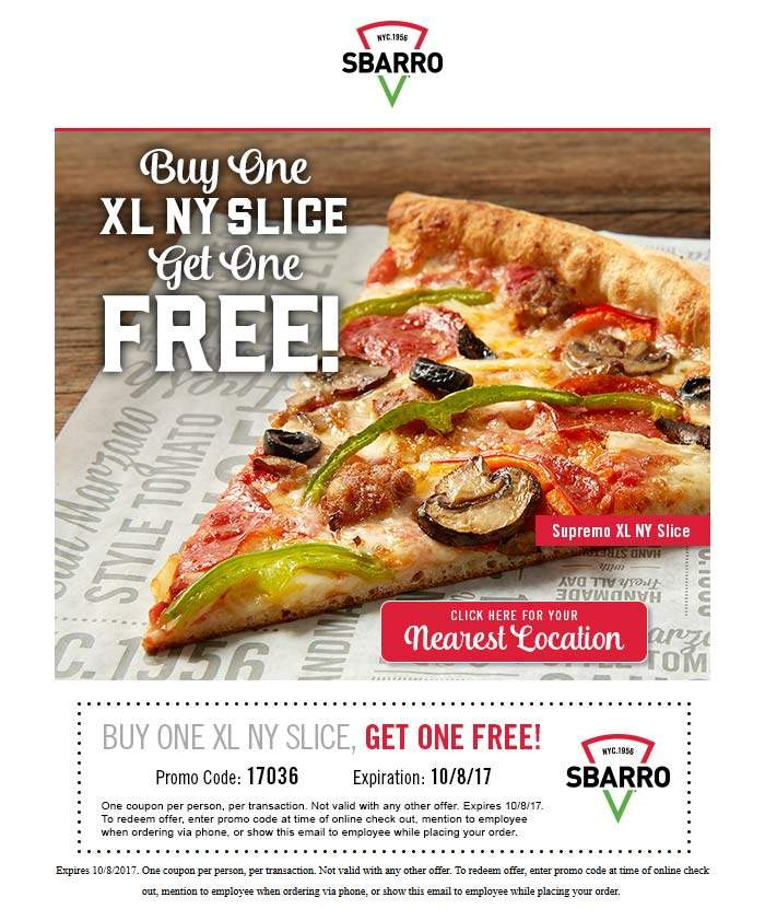 Sbarro Coupon October 2018 Second pizza slice free at Sbarro