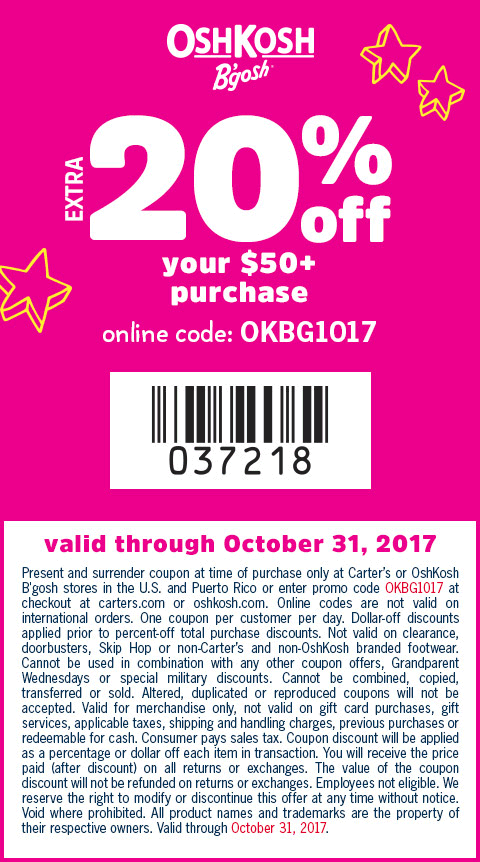 OshKoshBgosh.com Promo Coupon Extra 20% off $50 at OshKosh Bgosh, or online via promo code OKBG1017