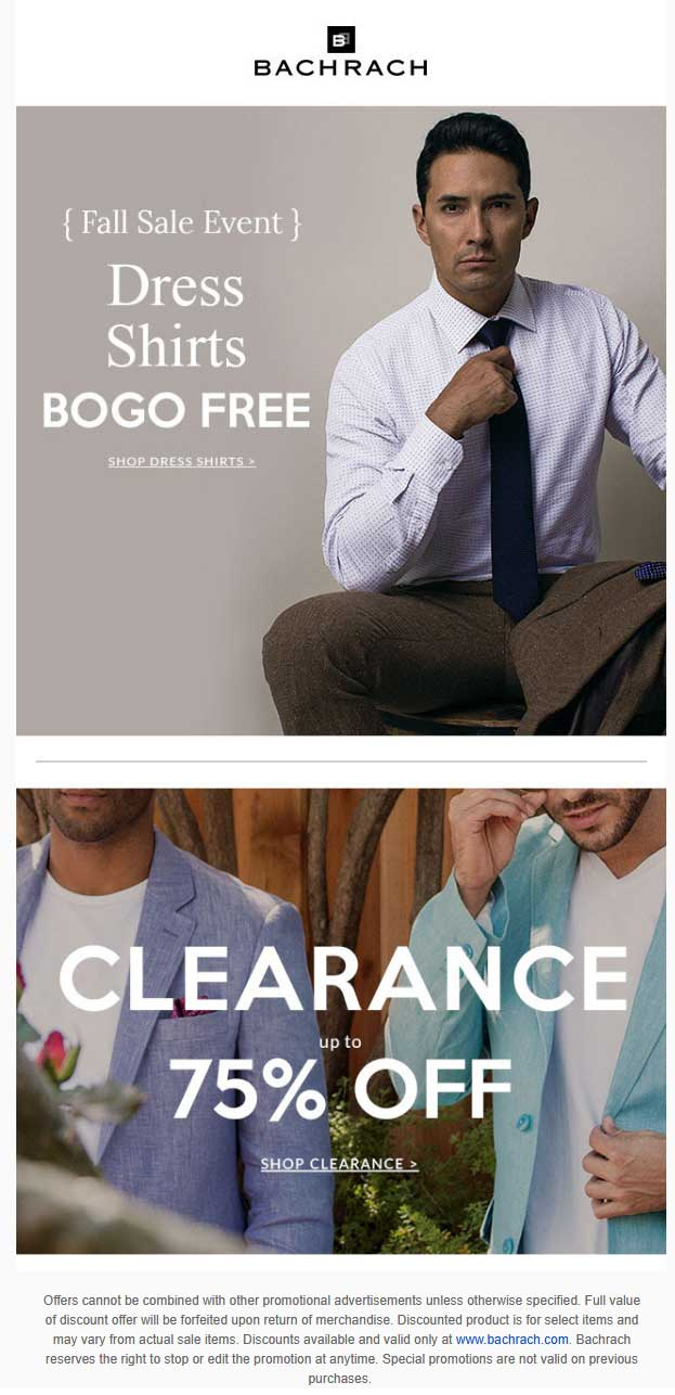 Bachrach Coupon October 2018 Second dress shirt free & more at Bachrach, ditt online