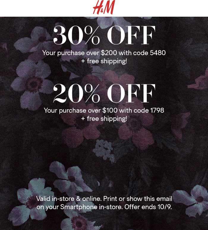 H&M Coupon March 2019 20-30% off $100+ today at H&M, or online via promo code 1798