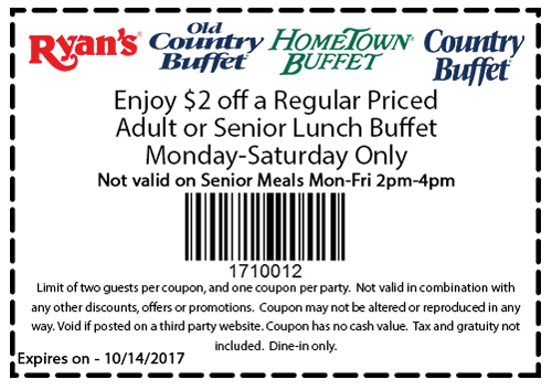 Old Country Buffet Coupon October 2018 $2 off lunch at Ryans, HomeTown Buffet & Old Country Buffet